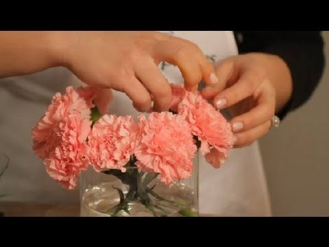 How to Make a Carnation Vase Arrangement : Flowers & Centerpieces. Get flowers from http://www.flowerexplosion.com