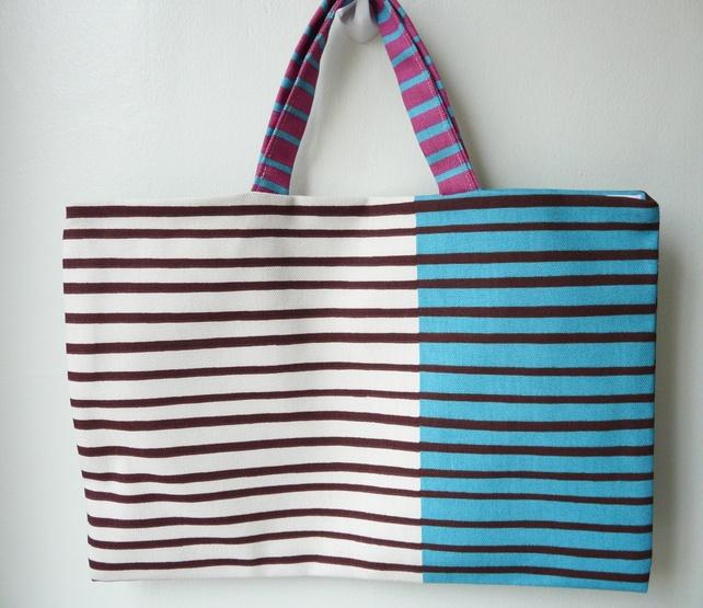 Blue and Cream Stripe Bag £8.00