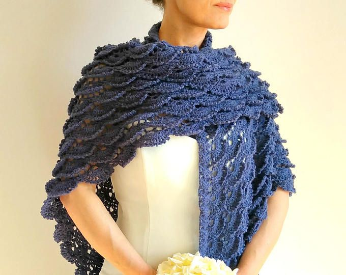 Chal azul oscuro, abrigo de mezclilla azul, encubrir nupcial, boda chal de ganchillo, crochet envoltura, regalo para ella, envío rápido, listo para SHİP
