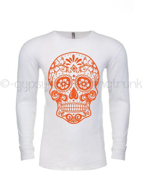 Sugar Skull Thermal Long Sleeve  Shirt - Sugar Skull Shirt - Day of the Dead Apparel - Skull Shirt - Skull Top - Day of the Dead Top by GypsyJunkClothing