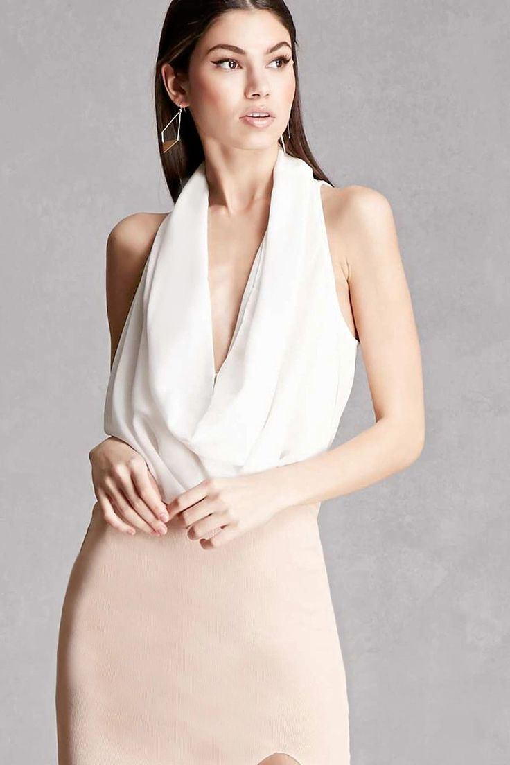 A crepe woven top featuring a sleeveless cut, draped design with dual hook-eye closures, plunging neckline, and a curved hem. This is an independent brand and not a Forever 21 branded item.