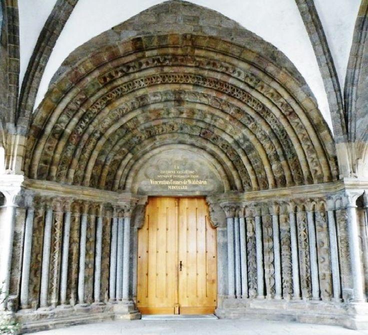 The entrance of St. Procopius Basilica in Třebíč, Czechia.. #romanesque #gothic #church #monastery #unesco #czechia