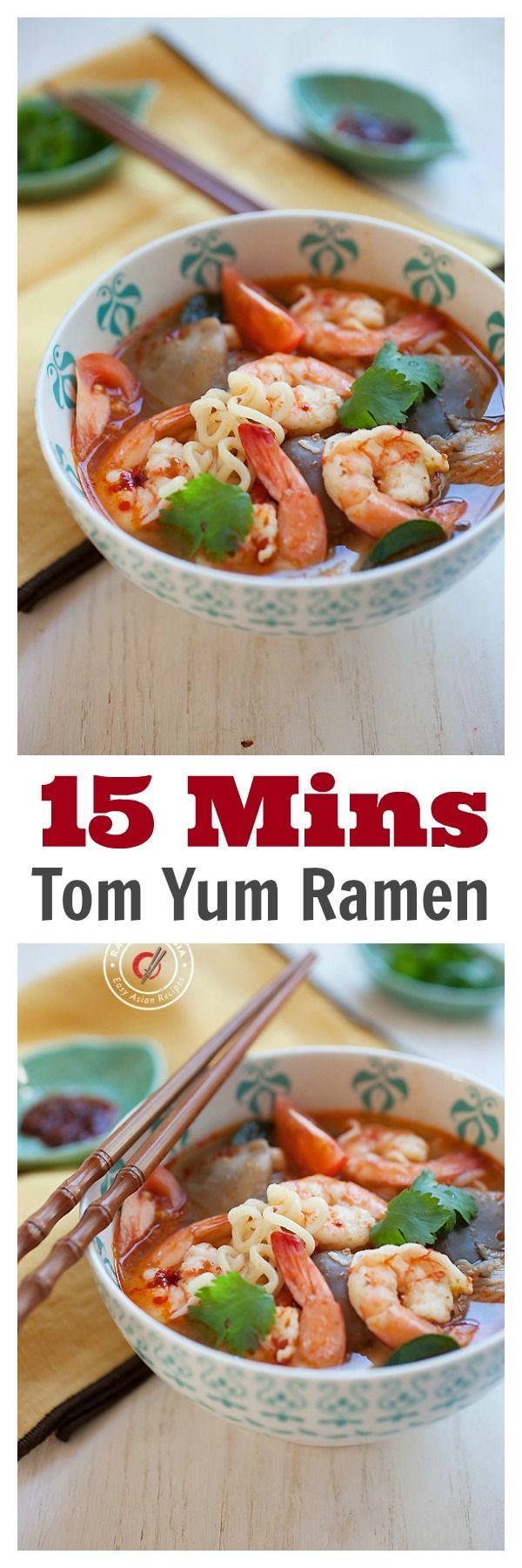15-Minute Tom Yum Noodle Soup - not packaged ramen, but made from scratch, super EASY Thai Tom Yum Ramen. So GOOD   rasamalaysia.com