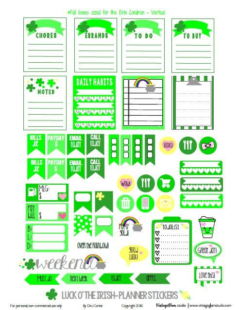 Luck O' the Irish Planner Stickers | Free St. Patrick's Day printable, for personal use only