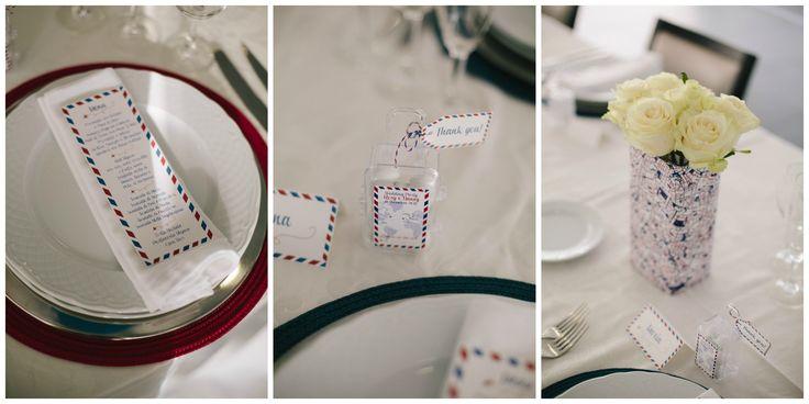 PlaceCard Wedding Air Mail Theme Centerpiece Wedding Favor