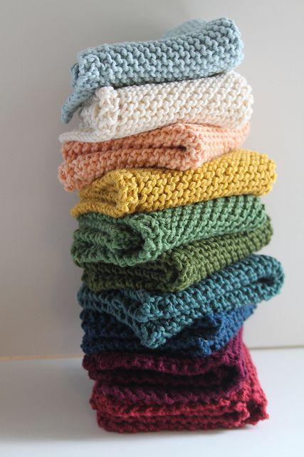 These are great dishcloths!  Grandmother's Favorite Dishcloth Rating: Easy Materials: Sugar and Cream yarn; Size 6 or 7 needles (US) Instructions: Cast on 4 stitches Row 1: Knit 4 Row 2: Knit 2, yarn over, knit across the row. Repeat Row 2 until you have 44 stitches on the needle. Row 3: Knit 1, Knit 2 together, yarn over, knit 2 together, knit to the end of the row. Repeat Row 3 until you have 4 stitches on the needle. You can now either bind off or do a round of single crochet and make a…