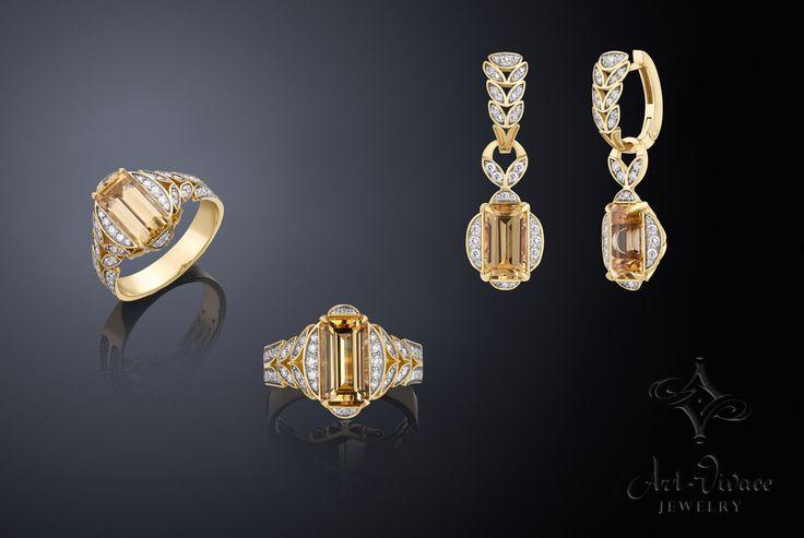 Гарнитур «Империал» отражает модные тенденции современного ювелирного искусства.   S.010.D.IT.W Золото 750, бриллианты  Топаз Империал #ring #earrings #jewelry #diamonds #style #бриллианты  #luxury #gold # imperial topaz # топазимпериал # @artvivacejewelry