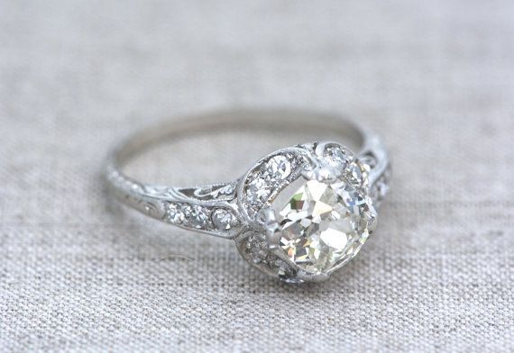 This one is beautiful, has to be one of my favorites!!!                  Antique 1.58 ctw Edwardian Platinum Engagement by pebbleandpolish, $9000.00