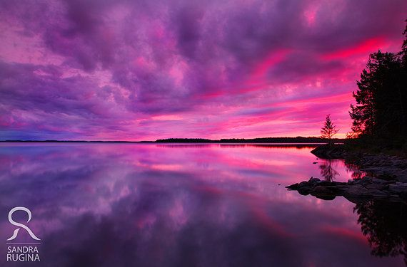 Dramatic sunset in Finland over a lake, surreal photo, print you can frame for your wall, 8in x 12in
