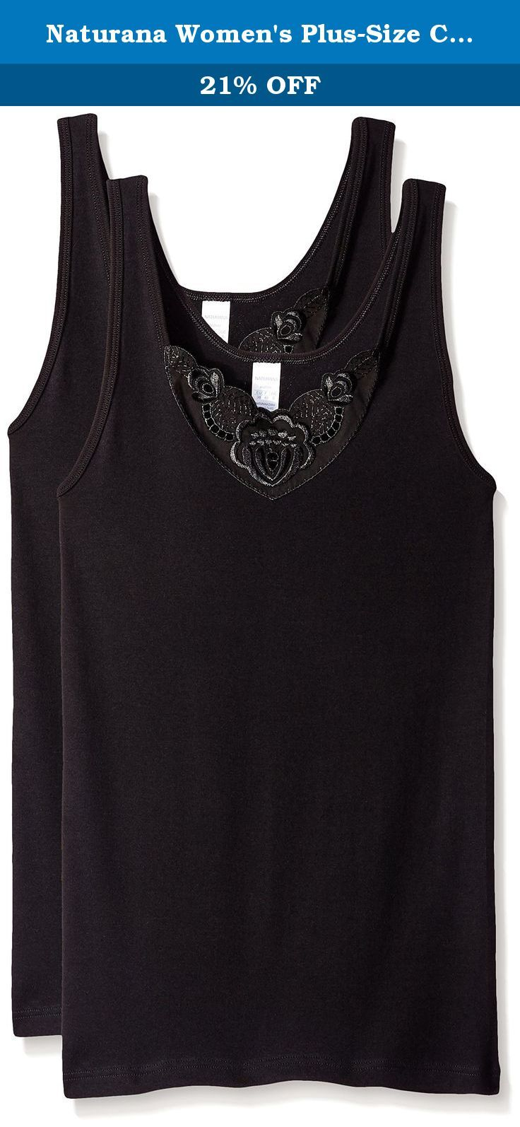 Naturana Women's Plus-Size Cotton Camisole, Black, XX-Large. Complimenting your everyday moves, this cotton camisole is light in weight and fashionable with a butterfly applique at front neckline.