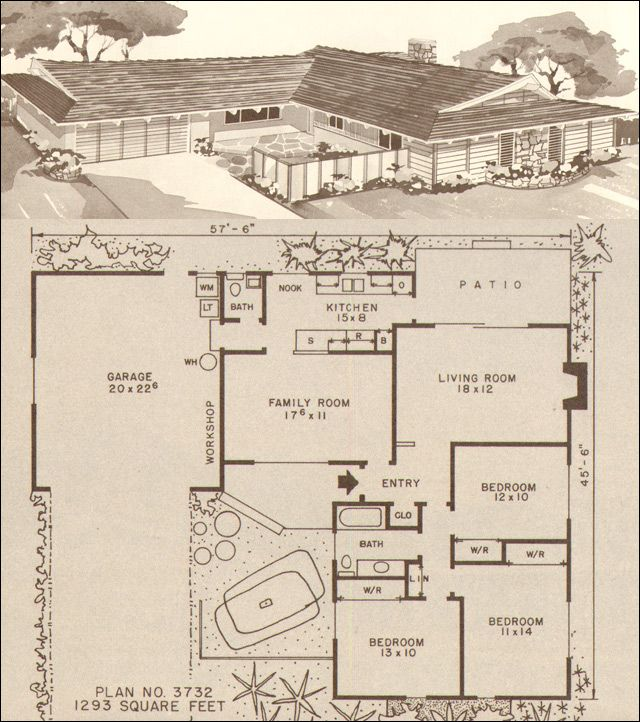 This average 1200 square foot house plan for the late 50s for 1960s floor plans
