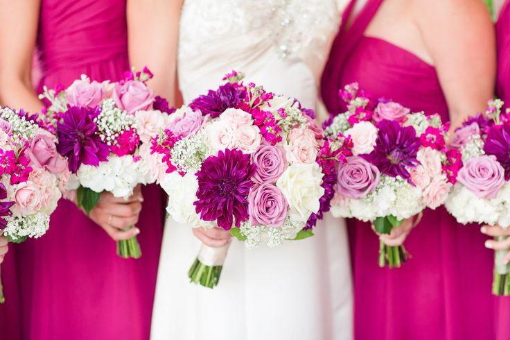 Rustic DC Barn Wedding with Sangria Bridesmaid Dresses and Bouquets of magenta, pink, blush flowers