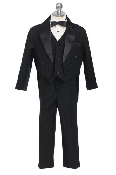(Sale) Boys Size 2T Black Round Tail Satin Trim Tuxedo w. Vest & Bow Tie