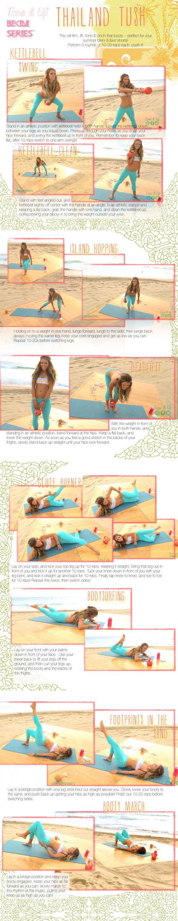 Bikini Booty Time!!! Check out this new Thailand Tush workout from the Tone It Up Girls!