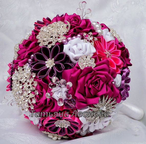 Brooch bouquet. Original handmade Wedding Bouquet in a Fuchsia and White color with the addition of a purple. Flowers made ​​of silk and satin ribbon,