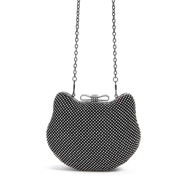 Forever21 Rhinestone Kitten Clutch (470 MXN) ❤ liked on Polyvore featuring bags, handbags, clutches, forever 21 purses, white handbag, bow handbags, bow purse and white purse