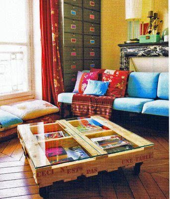 Wood pallet coffee table--love the organized cubbies!