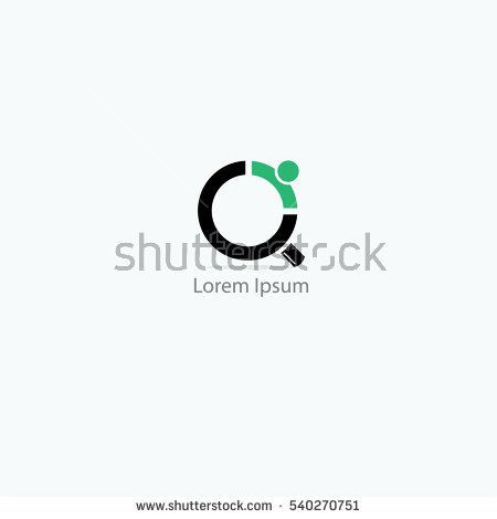 Magnifying glass logo, people finder, infinity searching vector