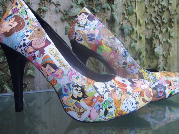 Disney decoupage shoes - I could totally DIY this.