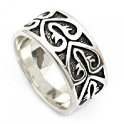Wide Band Silver Ring with Heart Design