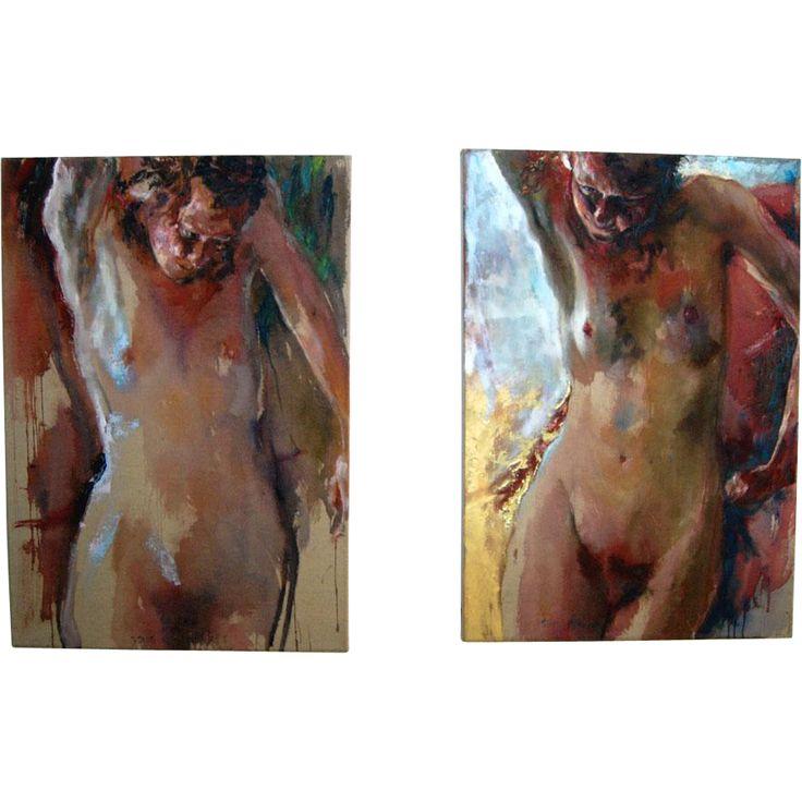 Sam Drukker, 1957. 'Standing Naked' #85 & #86. Offered by Oljos on RubyLUX.