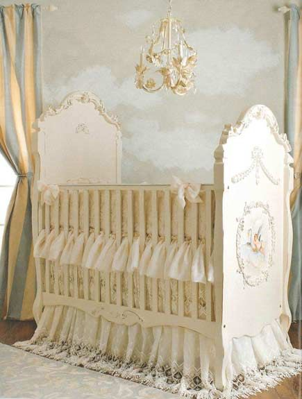 Baby Nursery Murals.... I want a bed that is this pretty but in my size!!!