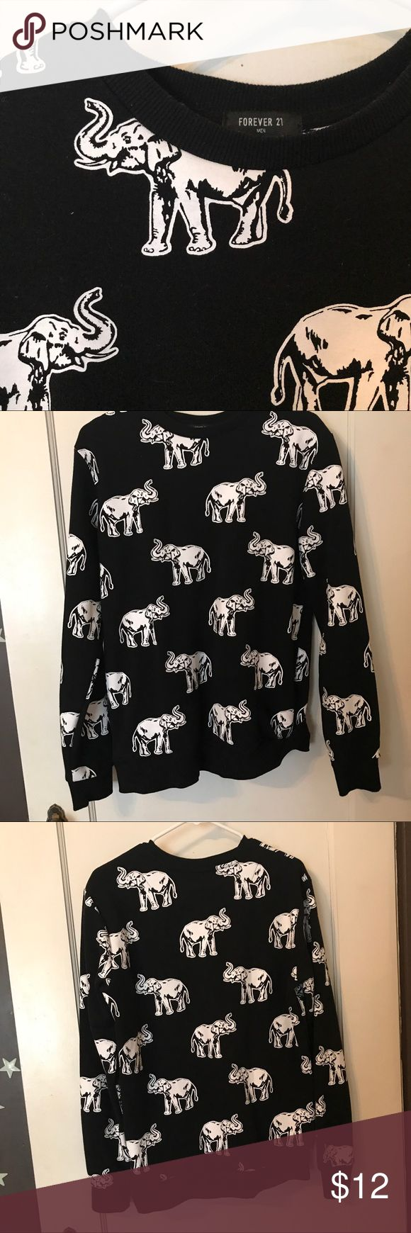 Elephant sweater I bought this in men's for a looser fit. I generally wear a women's large and this fits very comfortably. Worn a couple times, washed once and never dried Forever 21 Sweaters Crewneck