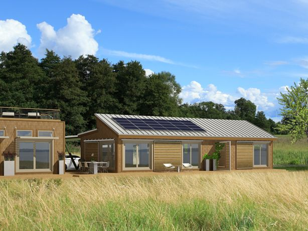 Must buy land... for this gorgeous prefab home. (Blue Homes: solar-power panels, bamboo floors, eco-friendly insulation)