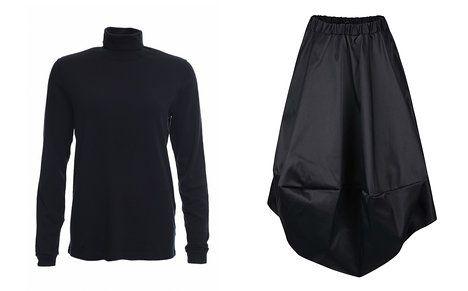 Obyčejný černý rolák doplňte výraznou sukní. Na foto (zleva): Unisex rolák Local Icons (prodává Locallabels), 490 Kč, tmavě šedá sukně Bianca Popp (prodává Zoot), 2669 Kč; Archiv firem