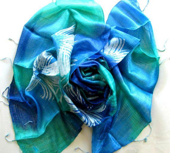 Raw silk shawl-Handwoven silk shawl-Hand by PlanetEarthHandmade