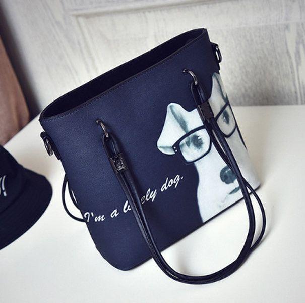 Item Type:Handbag Feature:Dog Pattern Color:Black WhiteMaterial:PU Weight:820gLength:24cm(9.45'') Height:24cm(9.45'') Width:10cm(3.94'')Pattern:PrintInner Pocket:Main Pocket Zipper Pocket Card Pocket