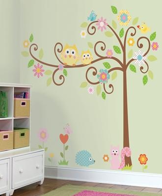 Owls Scroll Tree Wall Decals For Kids Rooms   Owl Themed Nursery   Owl  Nursery