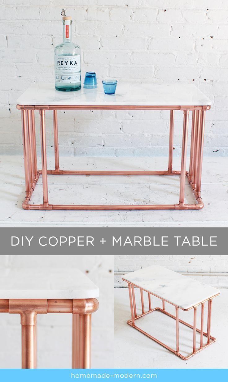 HomeMade Modern DIY Copper Marble Table Postcard