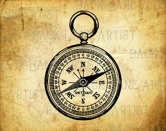 Vintage Pocket Compass Clipart Lineart Illustration Instant Download PNG JPG Digi Line Art Image Drawing L414