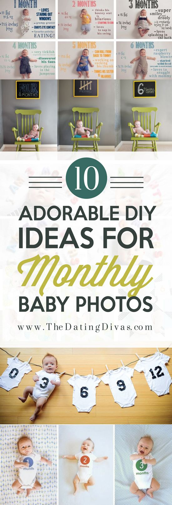 I LOVE these creative monthly baby pictures to document my newborn's growth! Such a great idea! Pinning for later! www.TheDatingDivas.com