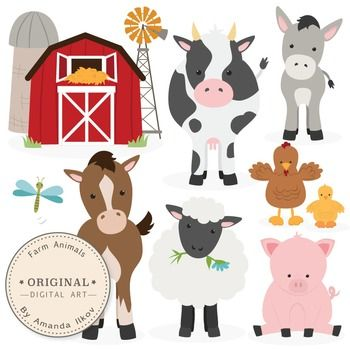 This is a set of 11 farm animal / barnyard animal images, professionally drawn by me. Includes horse clipart, cow clipart, donkey clipart, pig clipart, chicken clipart, baby chick clipart, sheep eating a flower clipart, plain sheep clipart, dragonfly clip art, windmill clipart and barn clipart.