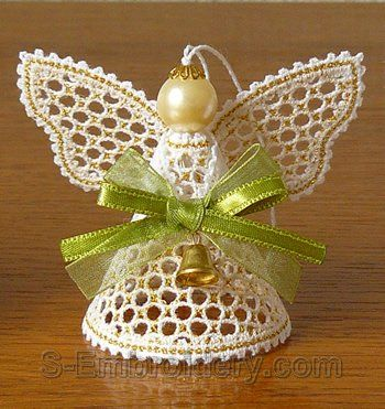 SKU 10561 Angel Battenberg lace Christmas ornament