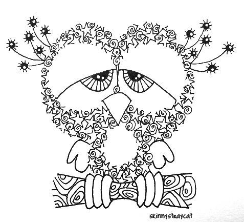 Sleepless  3in x 3in. Ink on paper.  In Zentangle Land, Sleepless Owl is... well, sleepless. Why? Because it stays up all day zentangling.: