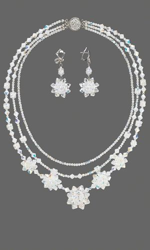 Triple-Strand Necklace and Earring Set with SWAROVSKI ELEMENTS