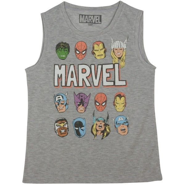 Marvel Character Tank Heather Gray ($13) ❤ liked on Polyvore featuring tops, shirts, tanks, marvel, fancy heather, sleeveless tank tops, fancy tops, heathered shirt, sleeveless tank and dressy tanks