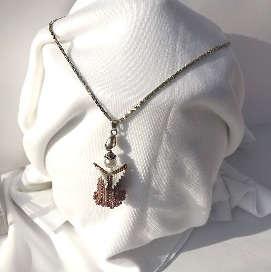 FREE SHIPPING Angel purple angel  unique angel pendant by Mamyblue, $35.00