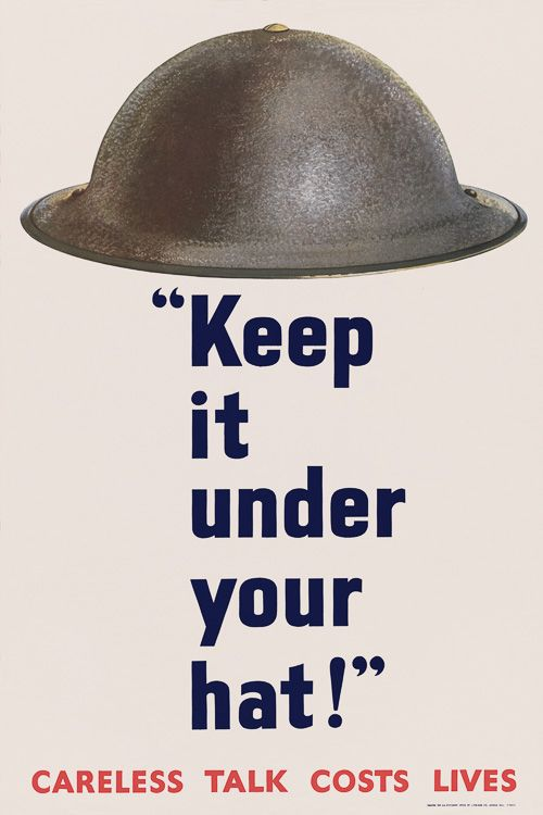 Keep it under your hat. Careless talk costs lives. From Great Britain this WWII poster promotes silence and vigilance to fight espionage. World War 2, 1939-1945.
