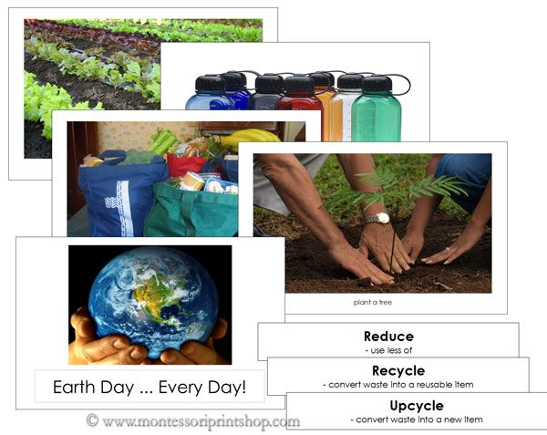 FREE Download: Earth Day ... Everyday! - Printable material that will help start a conversation about Reduce, Reuse, Recycle, Upcycle, and Protect.