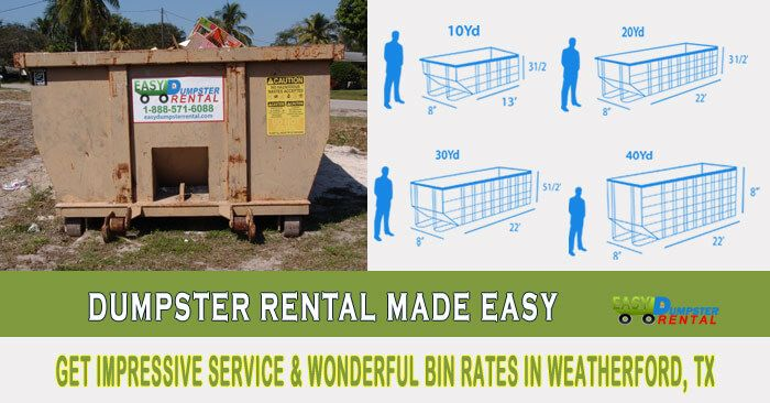 Weatherford, TX at EasyDumpsterRental Dumpster Rental in Weatherford,TX Get Impressive Service & Wonderful Bin Rates Why We Offer Unique Roll Off Service In Weatherford: We are a company that is committed to excellence. Every day we endeavor to give our customers the best customer service around. Our staff is eager to serve a... https://easydumpsterrental.com/texas/dumpster-rental-weatherford-tx/