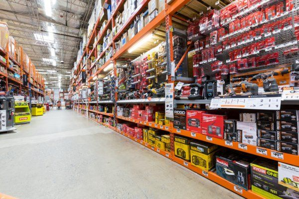 Power Tools Aisle In A Home Depot Hardware Store Stock Image In 2020 Hardware Store Home Depot Home Improvement Loans