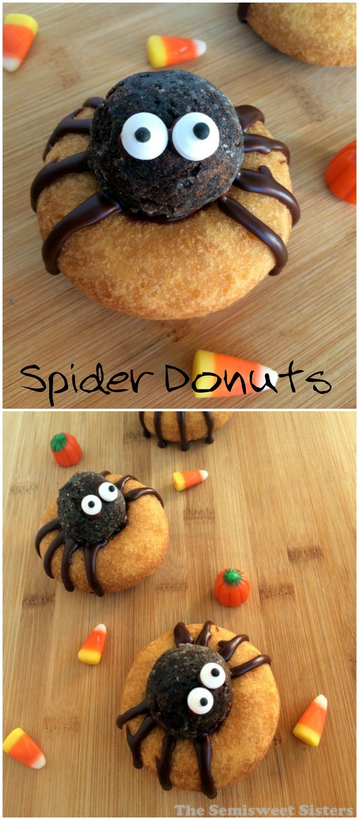 Halloween Spider Donuts, No Bake, easy Halloween recipe! These are so cute! Used donuts and chocolate donut holes!