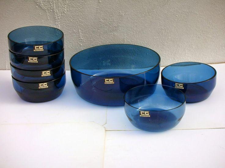 SKYSCRAPER CAPE TOWN - 20th CENTURY CLASSICS: 1960's Caithness Glass Scotland Midnight Blue Dess...