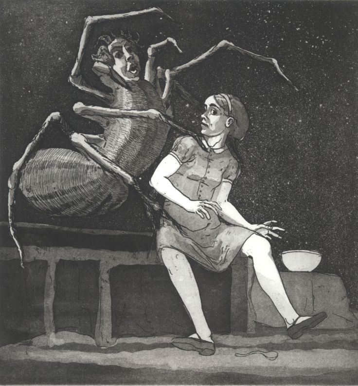 Paula Rego Little Miss Muffet (I) 1989 Etching and aquatint 22,6 x 21,3 cm Paper: 52 x 38 cm Série Nursery Rhymes