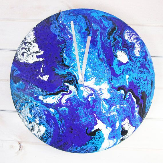 Blue Earth Handmade Clock  Acrylic Resin Artwork Resin Art