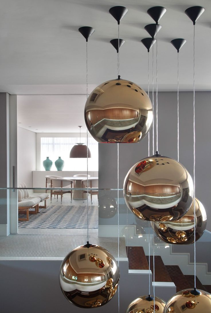 Lighting Design // Metallic Bubble Pendant Lights Clustered Together To  Make A Statement In The Entry Space Of The PV House, Designed By Studio  Guilherme ...